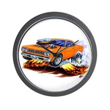 Roadrunner Orange Car Wall Clock