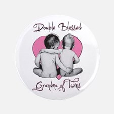 """Double Blessed Grandma of Twins 3.5"""" Button"""