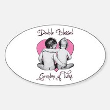 Double Blessed Grandma of Twins Oval Decal