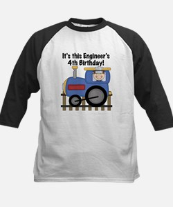 Engineer 4th Birthday Kids Baseball Jersey