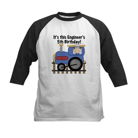 Engineer 5th Birthday Kids Baseball Jersey