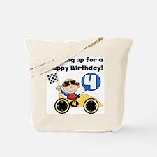 Race Car 4th Birthday Tote Bag