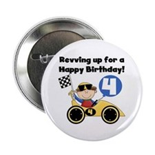 "Race Car 4th Birthday 2.25"" Button"