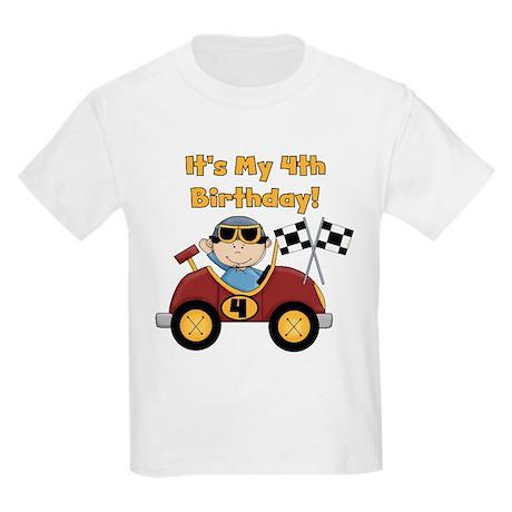 Race Car 4th Birthday Kids Light T-Shirt