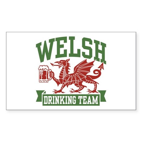 Welsh Drinking Team Rectangle Sticker