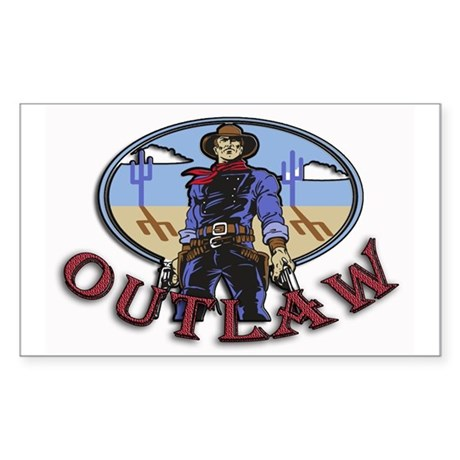 Cowboy Outlaw Rectangle Sticker