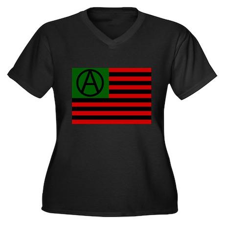 Anarchist american flag t shirt women 39 s plus size for Ladies american flag t shirt