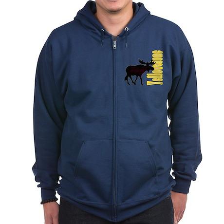 Vertical Yellowstone Moose Zip Hoodie (dark)
