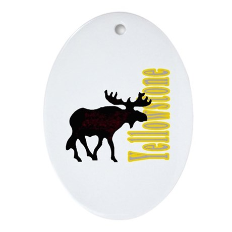 Vertical Yellowstone Moose Oval Ornament