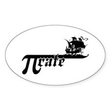 Pi rate Ship Oval Decal