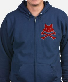 Plaid Kitty X-Bones by Rotem Gear Zip Hoodie