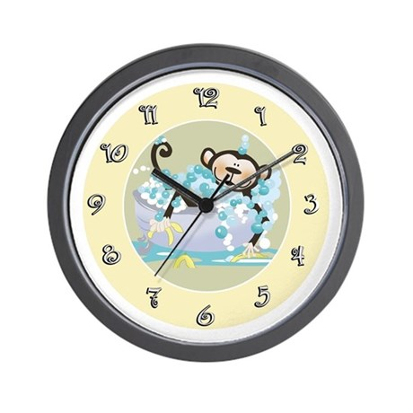 Dark Brown Monkey in Tub Clock