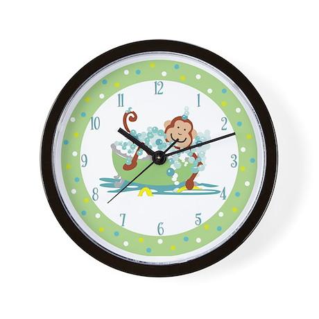 Polka-dot Tan Monkey in Tub Clock