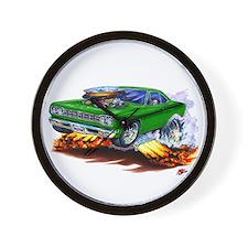 Roadrunner Green Car Wall Clock