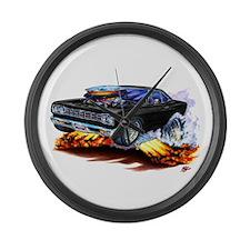 Roadrunner Black Car Large Wall Clock
