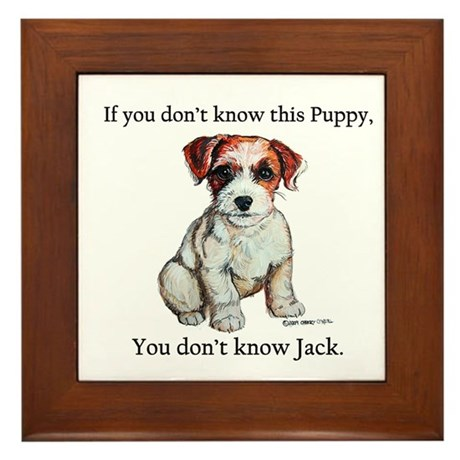 Don't Know Jack Russell Framed Tile