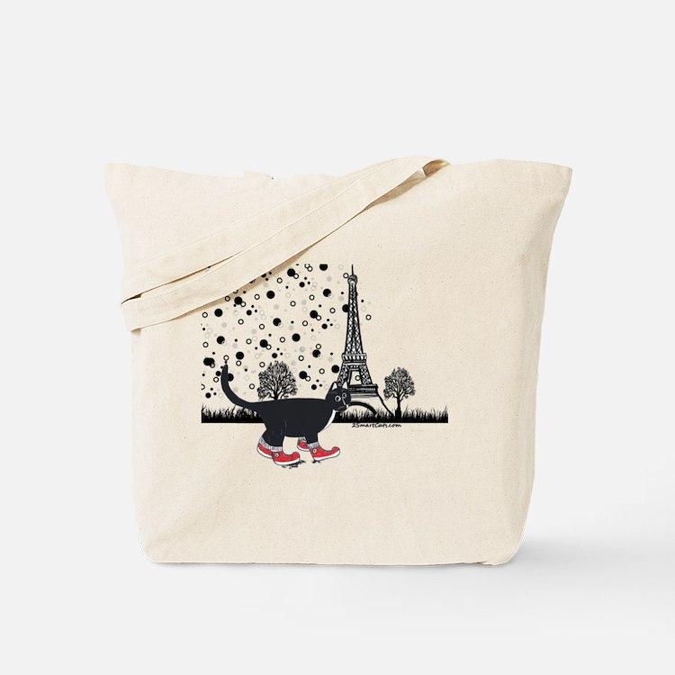 Tuxedo cat in Paris Tote Bag