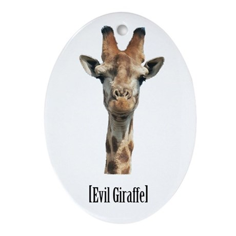 Evil Giraffe Oval Ornament