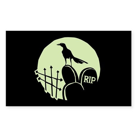 Raven Cemetery Moon Rectangle Sticker