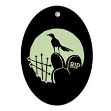 Raven Cemetery Moon Oval Ornament