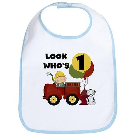 Fireman 1st Birthday Bib