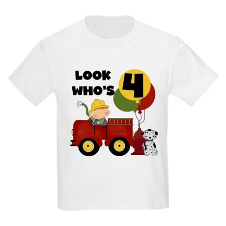 Fireman 4th Birthday Kids Light T-Shirt