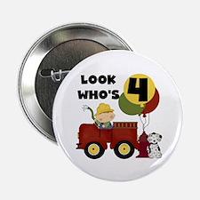 "Fireman 4th Birthday 2.25"" Button"