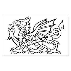 Midrealm white dragon vinyl Rectangle Decal