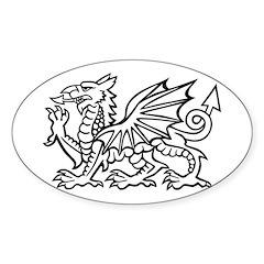 Midrealm white dragon Vinyl euro-style sticker