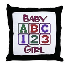 Baby Girl Blocks Throw Pillow