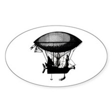 Steampunk pirate airship Oval Decal