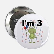 "Party Frog 3rd Birthday 2.25"" Button"