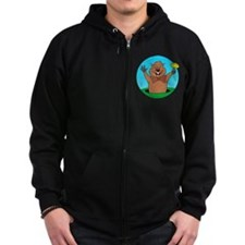 Cartoon Groundhog Zip Hoodie