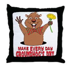 Cartoon Groundhog Throw Pillow