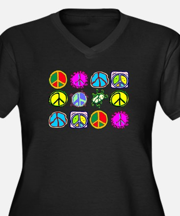 PEACE SYMBOLS Women's Plus Size V-Neck Dark T-Shir