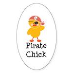 Pirate Chick Oval Sticker (10 pk)