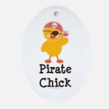 Pirate Chick Oval Ornament