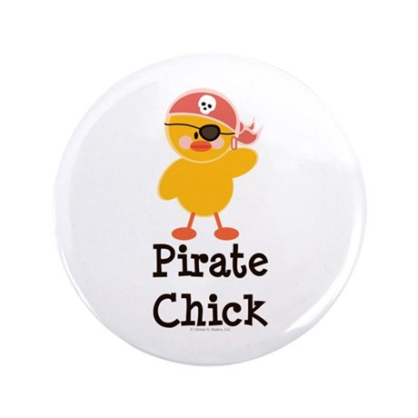 "Pirate Chick 3.5"" Button (100 pack)"