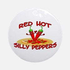 Red Hot Silly Peppers Ornament (Round)