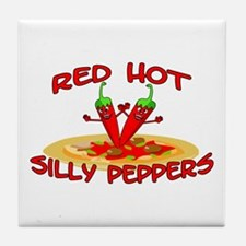 Red Hot Silly Peppers Tile Coaster