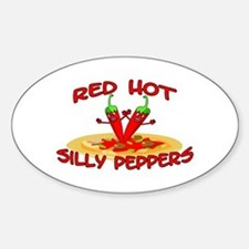 Red Hot Silly Peppers Oval Decal