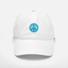 Peace Sign Blue Baseball Baseball Cap