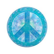 "Peace Sign Blue 3.5"" Button"