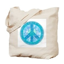Peace Sign Blue Tote Bag
