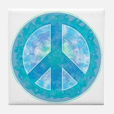 Peace Sign Blue Tile Coaster