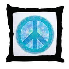 Peace Sign Blue Throw Pillow