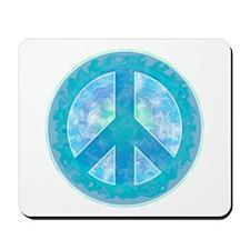 Peace Sign Blue Mousepad