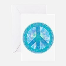 Peace Sign Blue Greeting Cards (Pk of 10)