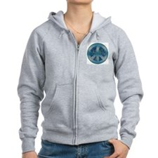 Peace Sign Blue 2 Zip Hoodie