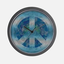 Peace Sign Blue 2 Wall Clock